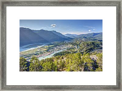 Squamish Town From The Summit Of The Stawamus Chief Framed Print