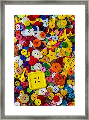 Square Button Framed Print by Garry Gay