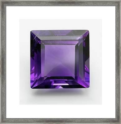 Square Cut Purple Amethyst Gemstone Framed Print by Dorling Kindersley/uig