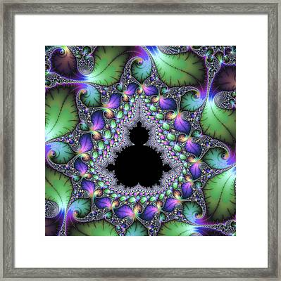 Square Format Abstract Artwork With Jewel Colors Purple Green Framed Print