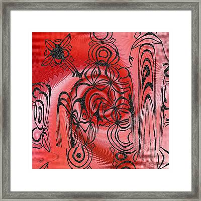 Square In Red With Black Drawing No 1 Framed Print by Ben and Raisa Gertsberg