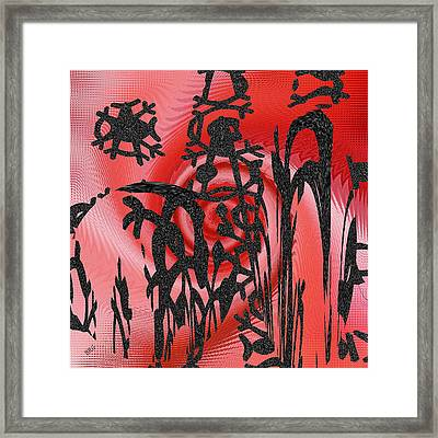 Square In Red With Black Drawing No 3 Framed Print by Ben and Raisa Gertsberg