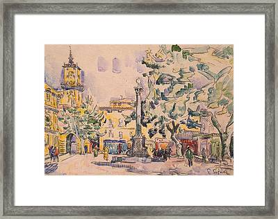 Square Of The Hotel De Ville Framed Print by Paul Signac