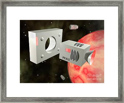 Square Peg Round Hole Framed Print by John Boud