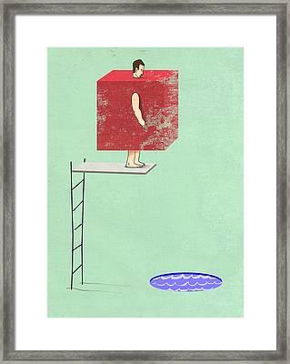 Square Peg Round Pool Framed Print by Steve Dininno