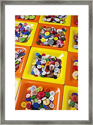 Square Plates With Buttons Framed Print by Garry Gay