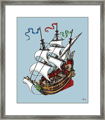 Square Rigged Wooden Ship Framed Print