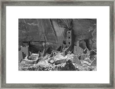 Square Tower At Mesa Verde Bw Framed Print