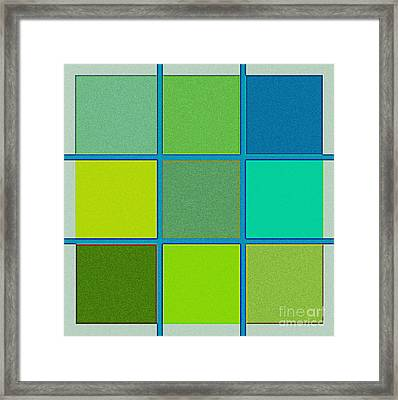Squares - Green Framed Print