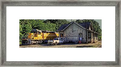 Squaw Creek Southern Locomotive In Madison Framed Print by Reid Callaway