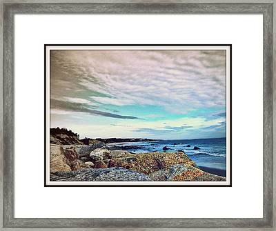Squibby Cliffs And Mackerel Sky Framed Print by Kathy Barney