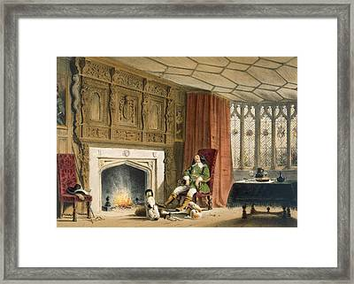 Squire With His Dogs By The Hearth Framed Print by Joseph Nash