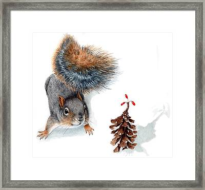 Squirrel And Festive Pine Cone Framed Print