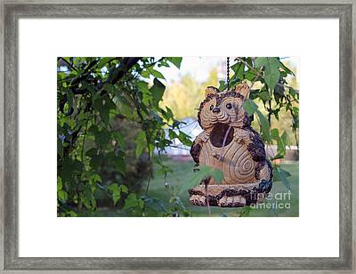 Squirrel Bird Feeder Framed Print