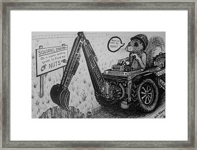Squirrel Digging Co. Framed Print by Richie Montgomery