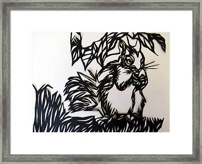 Squirrel Paper Cut Framed Print