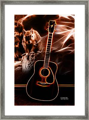 Framed Print featuring the digital art Squirrelly Music Red by James Ahn