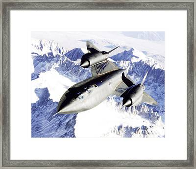 Sr-71 Over Snow Capped Mountains Framed Print by R Muirhead Art