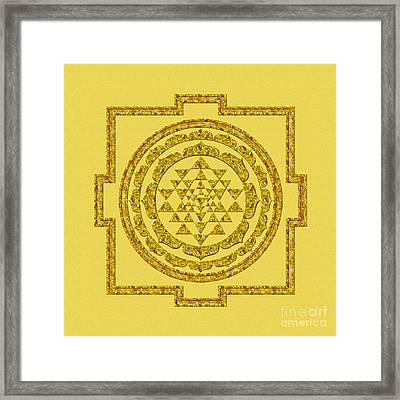 Sri Yantra In Gold Framed Print