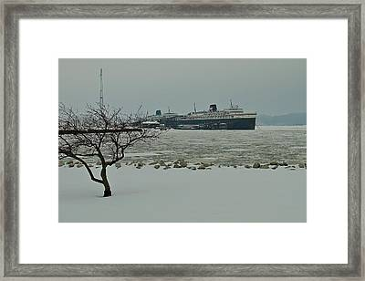 S S Badger Wintering Over In Ludington Framed Print by Dave Zuker
