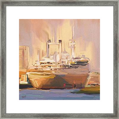 Framed Print featuring the painting Ss Rotterdam In Autumn Light by Nop Briex