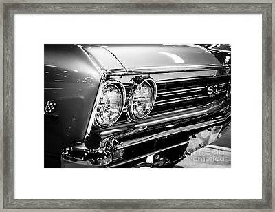 Ss396 Chevelle Black And White Picture Framed Print by Paul Velgos