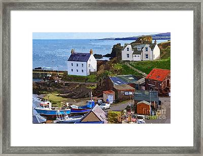 Framed Print featuring the photograph St. Abbs Harbour - Photo Art by Les Bell