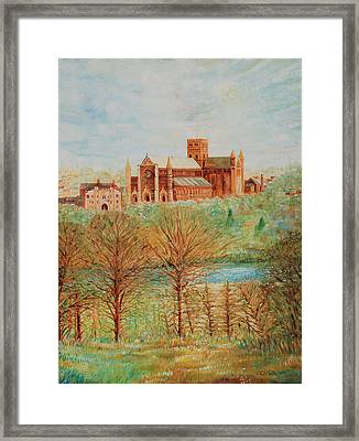 St Albans Abbey - Autumn View Framed Print by Giovanni Caputo