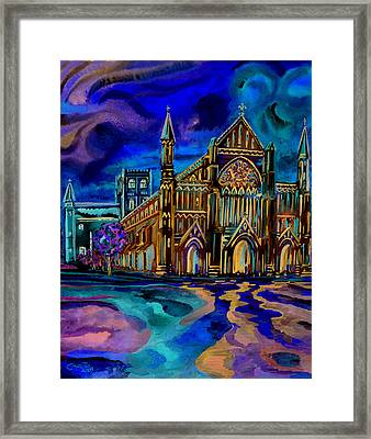 St Albans Abbey - Night View Framed Print by Giovanni Caputo