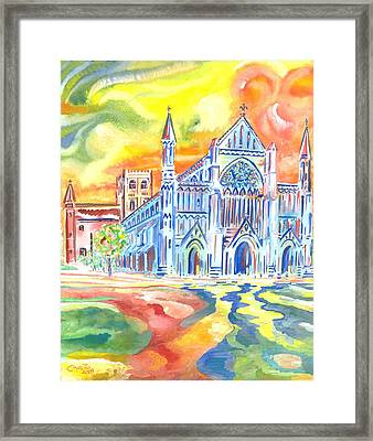 Framed Print featuring the painting St Albans Abbey - Rainbow Celebration by Giovanni Caputo