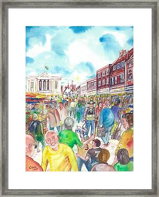 St Albans - Market People Framed Print by Giovanni Caputo