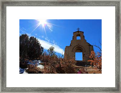 St Aloysius Mission On A Hill Framed Print by Barbara Chichester