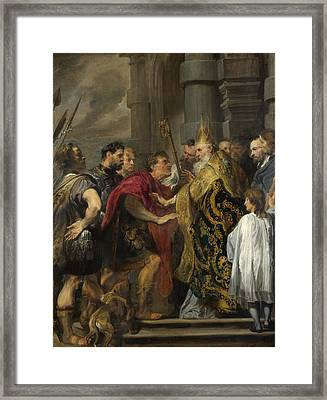 St. Ambrose Barring Theodosius From Milan Cathedral Framed Print