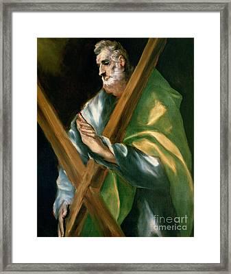 St Andrew Framed Print by El Greco Domenico Theotocopuli