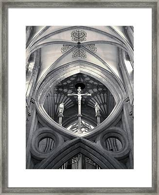 St Andrews Cross Scissor Arches Of Wells Cathedral  Framed Print