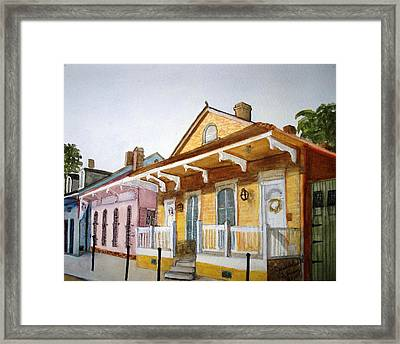 Framed Print featuring the painting St. Ann Street Scene - French Quarter by June Holwell