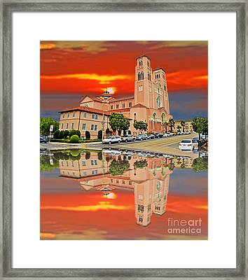 St Anne Church Of The Sunset In San Francisco With A Reflection  Framed Print by Jim Fitzpatrick