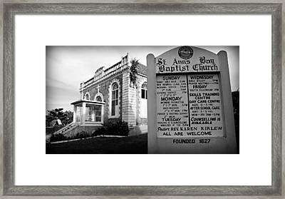 St. Ann's Bay Baptist Church With Sign Framed Print