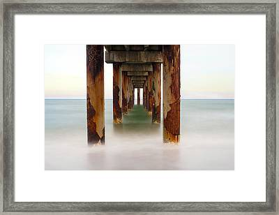 St. Augustine Beach Pier Framed Print by Marion Johnson