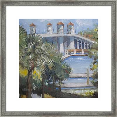 St Augustine Bridge Of Lions Framed Print by Mary Hubley