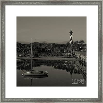 St. Augustine Lighthouse Beach Early Morning Monochrome Framed Print