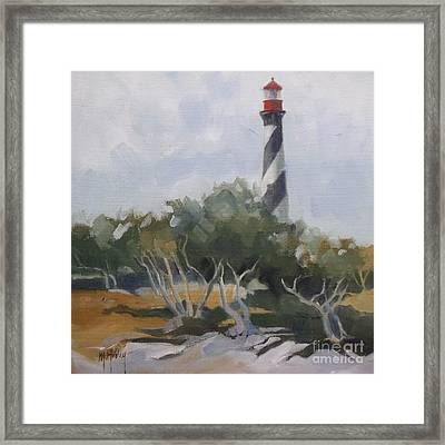 St Augustine Lighthouse First Light Framed Print by Mary Hubley
