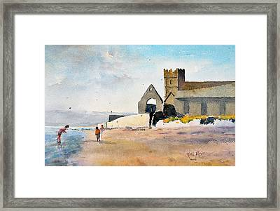St Augustines Abbey  Strand Paddlers Abbeyside Dungarvan County Waterford Ireland Framed Print by Keith Thompson