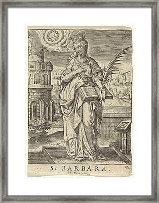 St. Barbara, Johannes Wierix Framed Print by Johannes Wierix