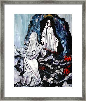 St. Bernadette At The Grotto Framed Print