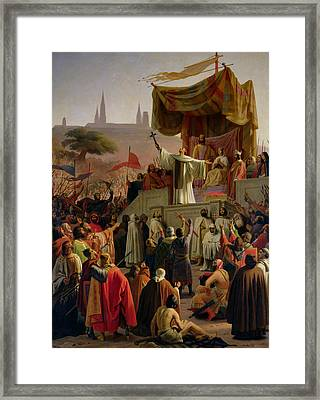 St Bernard Preaching The Second Crusade In Vezelay Framed Print by Emile Signol