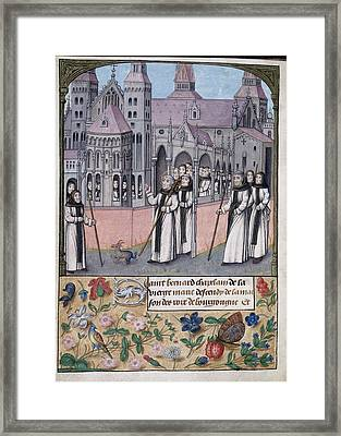 St Bernard With Monks Of Citeaux Framed Print by British Library