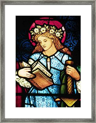 St Catherine Of Alexandria In Stained Glass Framed Print by Philip Ralley