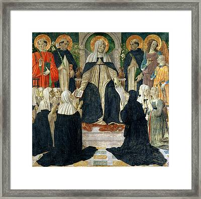 St. Catherine Of Siena As The Spiritual Mother Of The 2nd And 3rd Orders Of St. Dominic Framed Print by Cosimo Rosselli