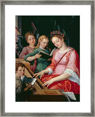 Saint Cecilia Accompanied By Three Angels Framed Print by Michiel I Coxie or Coxcie